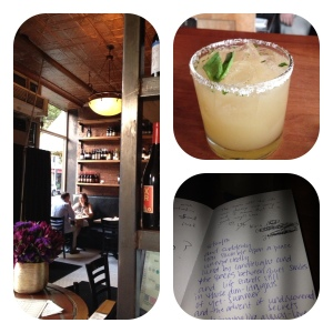 """rustic decor, a grapefruit basil agave margarita, and the bill tucked into a """"sign me"""" guest book (i wrote a little poem, naturally)"""