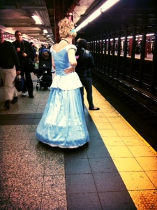Cinderella, texting and waiting for the train