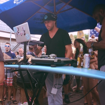DJing on a surfboard = perfect